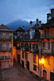 Domodossola, Italy. Central square by night. Italian city centre square at Domodossola. Historical setting, old architecture. Evening light Stock Images