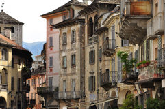 Domodossola, Italy. Market square buildings. Domodossola central market square old building. Historical facades, old architecture Royalty Free Stock Photos