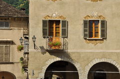 Domodossola, Italy. Market square detail. Domodossola central square building detail. Historical setting, old architecture Royalty Free Stock Images