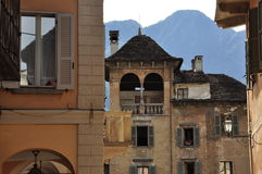 Domodossola, Italy. Market square detail. Domodossola central square building detail. Historical setting, old architecture Stock Photography
