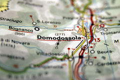 Domodossola on the map, Italy Stock Images