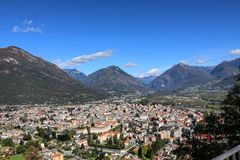 Domodossola. Mountains autmn beautiful bluesky sky Royalty Free Stock Photo