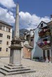 Domodossola Piedmont, Italien: historiska byggnader royaltyfria bilder