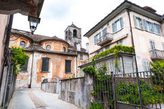 Domodossola. Typical street in the Italian town Domodossola Royalty Free Stock Image