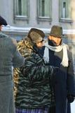 Domogarov, Efremov, Ishmukhamedov. MOSCOW - JANUARY 23: Domogarov, Efremov, Ishmukhamedov on shootings of a new film Moscow Criminal Investigation Department Stock Photography