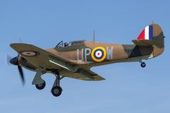 1940 domokrążca Huragan Mk 1 R4118 G-HUPW A Royal Air Force RAF poprzedni samolot i bitwa Brytania ocalały fotografia stock