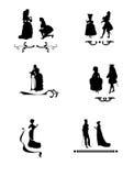 Domoren met silhouet van mensen vector illustratie