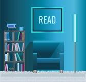Domowa biblioteka z kanapą i książkami Obraz Stock