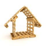 Domowa budowa z drewnianymi barłogami Zdjęcia Stock
