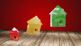 Domowa czerwona żółta zieleń 3d-illustration royalty ilustracja