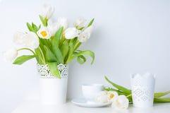 Domowa dekoracja, biali tulipany Obrazy Royalty Free