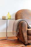 Domowa dekoracja wyszczególnia kanapę z koc zdjęcia royalty free