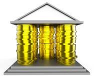 Domowa hipoteka Reprezentuje ukopu budynek I pieniądze ilustracji