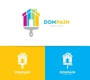 Domowa i szczotkarska logo kombinacja Nieruchomość, paintbrush ikona i symbol lub Unikalny mieszkania i czynsz agenci logotyp Obrazy Royalty Free