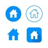 Domowa ikona, cztery warianta, klasycznego symbol, ikona w okręgu, zarysowany symbol w okręgu i płaska ikona z długim cieniem, fotografia stock
