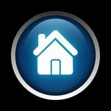 Domowa ikona na okręgu odizolowywającym na czarnym tle Zdjęcie Stock