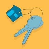 Domowa kluczowa ikona, sprzedaż czynsz lub ochrony mieszkania wektor, royalty ilustracja