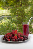 Domowa koszałka wiśnie, truskawki i malinki w szkle, jedzenie zdrowe talerz świeżych owoców Lata odświeżenia napój na zieleni pół zdjęcie stock