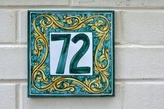 domowa liczba siedemdziesiąt podpisuje kafelkowi dwa Obraz Stock