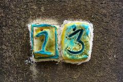 Domowa liczba trzynaście 13 Obrazy Stock