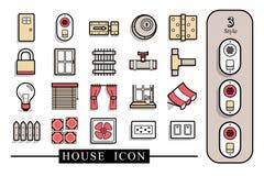 Domowa materialna ikona Kartoteka oddzielne warstwy royalty ilustracja