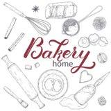 Domowa piekarnia ustawiająca z toczną szpilką, naganiacz, foremka, durszlak, mąka, jajka, masło, cytryna, pikantność Ręka rysując ilustracja wektor