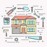 Domowa remontowa płaska kreskowej sztuki wektoru ilustracja Obraz Stock