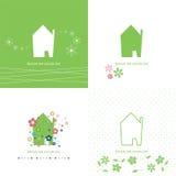 Domowa symbol kolekcja zieleń, ekologia -/ Zdjęcie Stock