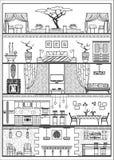 Domowa wewnętrzna sylwetka również zwrócić corel ilustracji wektora ilustracja wektor