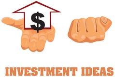 Domowa znaka i dolara ikona w ręce Fotografia Stock
