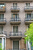 Domowe fasady w Barcelona, Hiszpania Zdjęcie Stock