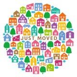 Domowe ikony w okręgu Houseâmoving kartka z pozdrowieniami Zdjęcia Stock