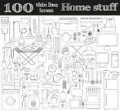 Domowe materiał ikony Set 100 przedmiotów w cienkim kreskowym stylu Zdjęcia Stock