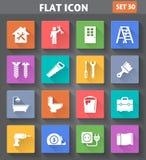 Domowe Remontowe i narzędzia ikony ustawiać w mieszkanie stylu z długimi cieniami Obraz Stock