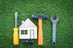 Domowego budowy odświeżania abstrakcjonistyczny tło i narzędzia Zdjęcie Stock