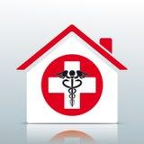 Domowego budynku krzyża Szpitalny Aesculapian personel royalty ilustracja