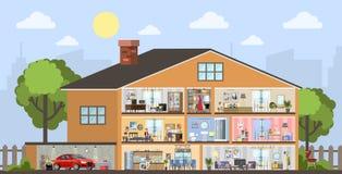 Domowego budynku wewnętrzny plan z garażem ilustracji