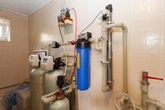 Domowego gospodarstwa domowego kotłowy pokój z nowym nowożytnym stałego paliwa bojlerem, ogrzewający elektrycznego ciepłego syste Obrazy Royalty Free