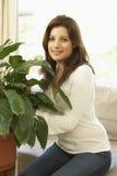 domowego houseplant przyglądająca kobieta zdjęcie stock