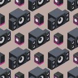 Domowego isometric systemu dźwiękowego 3d głośników gracza subwoofer stereo akustyczny wektorowy bezszwowy deseniowy muzyczny wyp Zdjęcia Stock