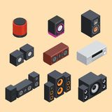 Domowego isometric systemu dźwiękowego stereo akustyczny 3d wektor Obraz Royalty Free