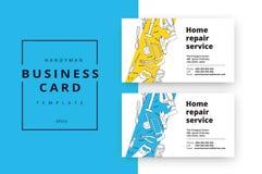 Domowego ulepszenia korporacyjna wizytówka z remontowymi narzędziami Hous royalty ilustracja