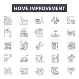 Domowego ulepszenia linii ikony dla sieci i mobilnego projekta Editable uderzenie znaki Domowego ulepszenia konturu pojęcie royalty ilustracja