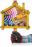 Domowego ulepszenia pojęcie - praca dom i narzędzia Zdjęcia Royalty Free
