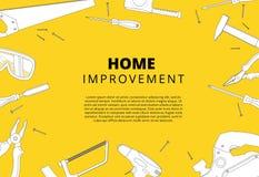 Domowego ulepszenia tło z remontowymi narzędziami Domowy constructio ilustracji