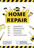 Domowego ulepszenia ulotka z remontowymi narzędziami lub plakat Domowy constr ilustracja wektor