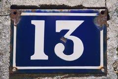 Domowej liczby trzynaście zamknięty up fotografia stock
