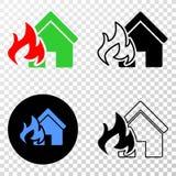 Domowej Pożarniczej katastrofy EPS Wektorowa ikona z Konturową wersją royalty ilustracja
