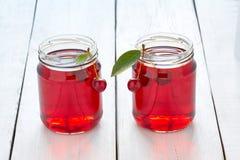 Domowej roboty świeży czereśniowy sok w świeżych wiśniach i szkle Obrazy Royalty Free