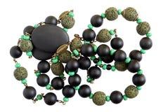 Domowej roboty żeńscy koraliki zrobią czerni i zieleni onyksu kamień zdjęcie stock